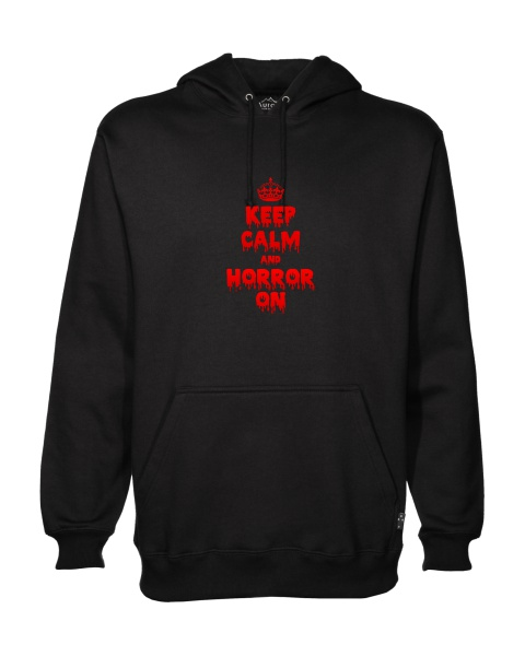 Keep Calm and Horror On mens hoodie