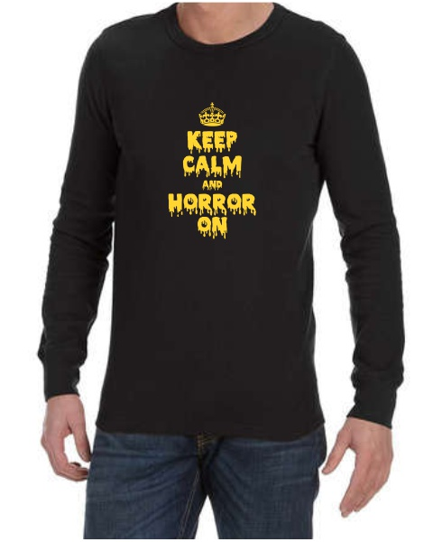 Keep Calm and Horror On mens long sleeve