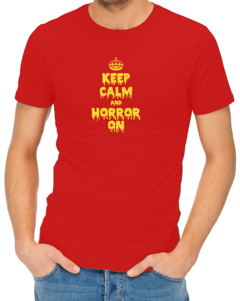 Keep Calm and Horror On mens short sleeve