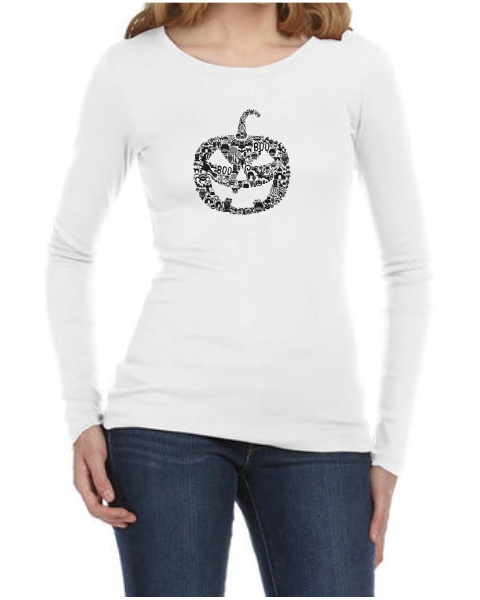 Pumpkin Face ladies long sleeve