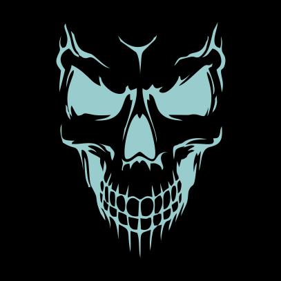Scary Skull Face Black