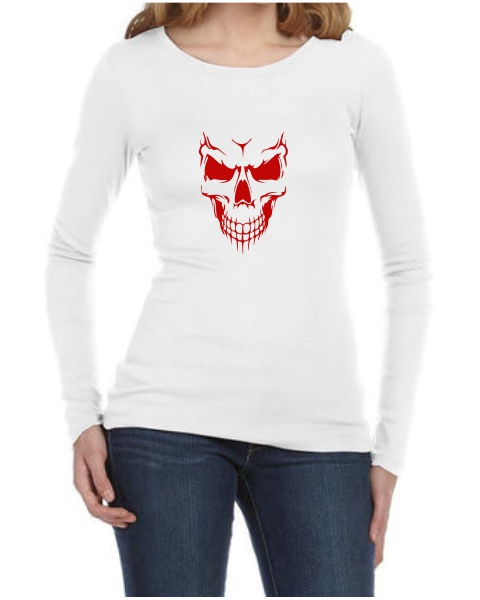 Scary Skull Face ladies long sleeve