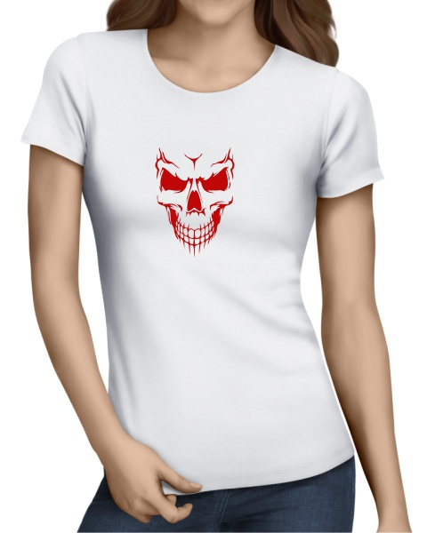 Scary Skull Face ladies short sleeve