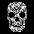 Skull Face Collage Black