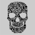 Skull Face Collage Grey