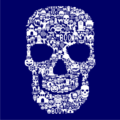 Skull Face Collage Navy