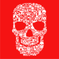 Skull Face Collage Red