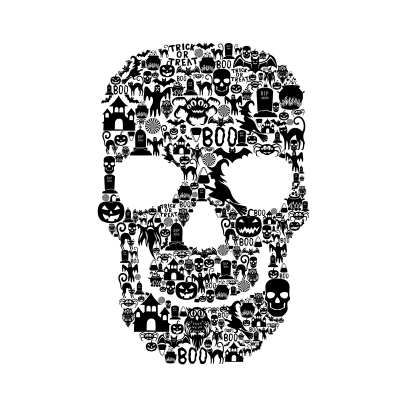 Skull Face Collage White