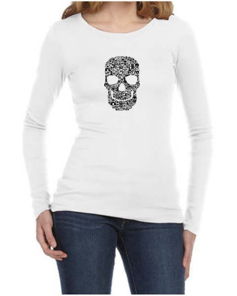 Skull Face Collage ladies long sleeve