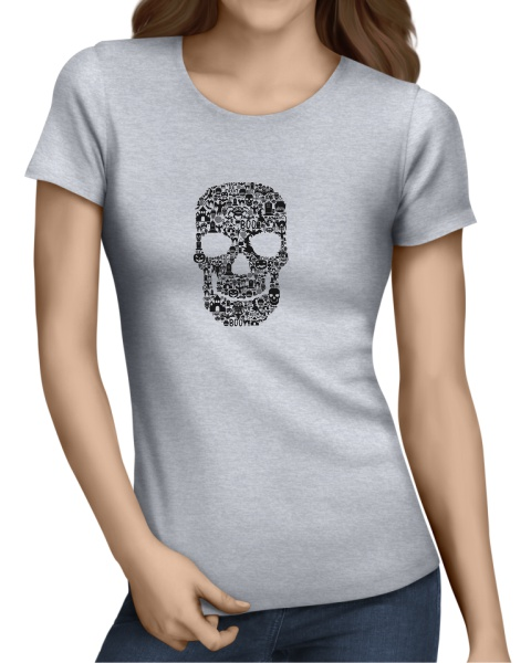 Skull Face Collage ladies short sleeve