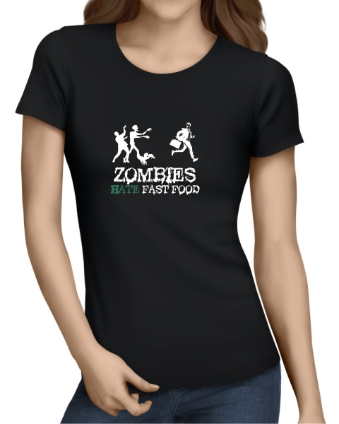 Zombies Hate Fast Food ladies sort sleeve