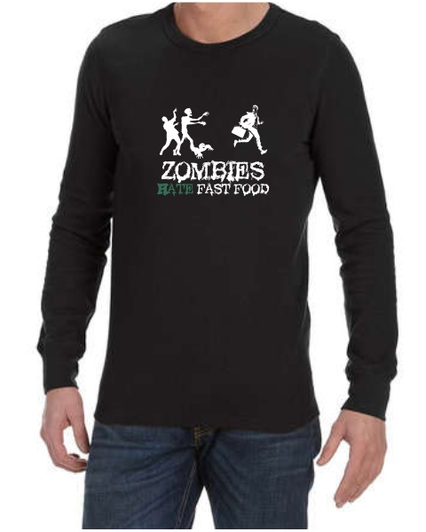 Zombies Hate Fast Food mens long sleeve