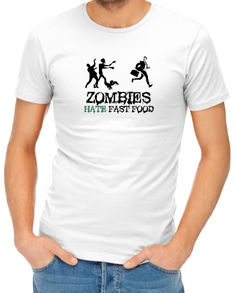 Zombies Hate Fast Food mens short sleeve