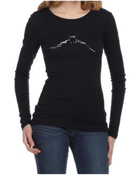 batman silhouette ladies long sleeve