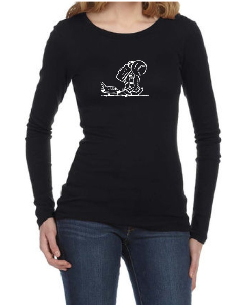 sad spaceman ladies long sleeve