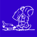 sad spaceman royal blue