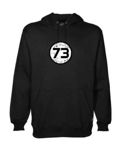 73 on black hoodie