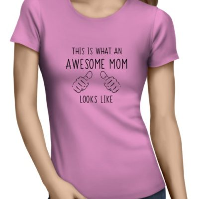 Awesome Mom Ladies Light Pink