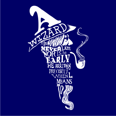 a wizard is never late navy square