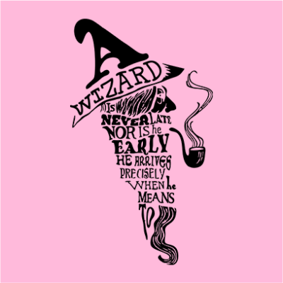 a wizard is never late pink square