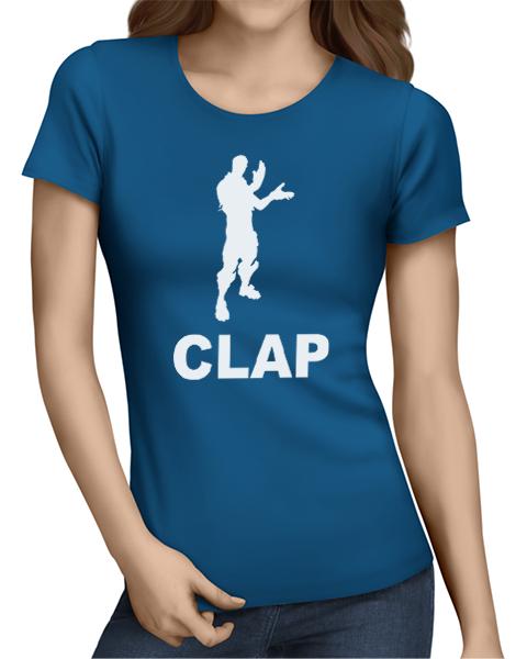 clap ladies tshirt blue