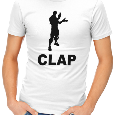 clap mens tshirt white
