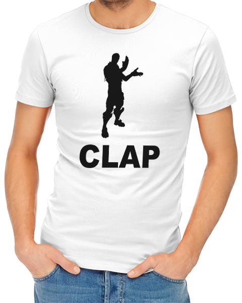 clap mens tshirt white