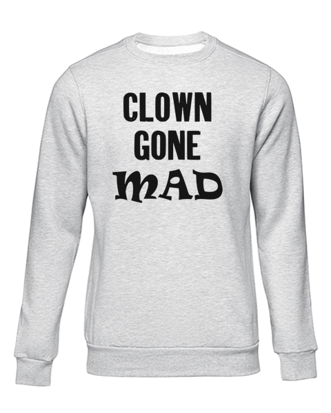 clown gone mad grey sweater
