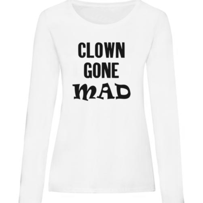 clown gone mad ladies white long sleeve