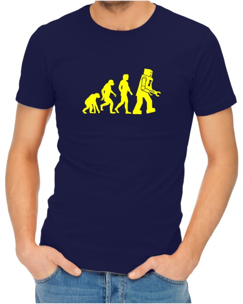 robot evolution on mens navy shirt