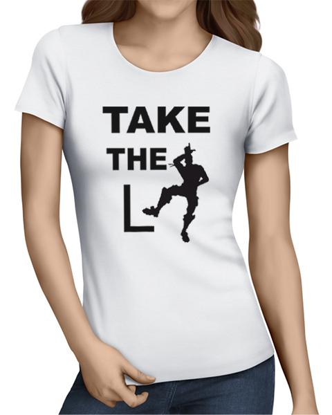 take the L ladies tshirt white