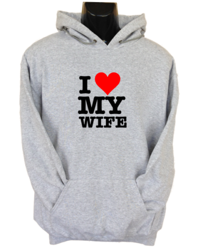 I Love My Wife Grey Hoodie