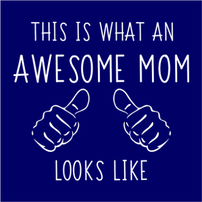 awesome mom navy square