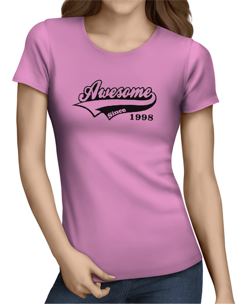 awesome since ladies tshirt pink