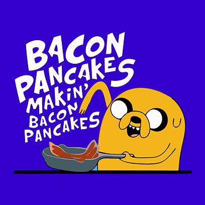 bacon pancakes blue square
