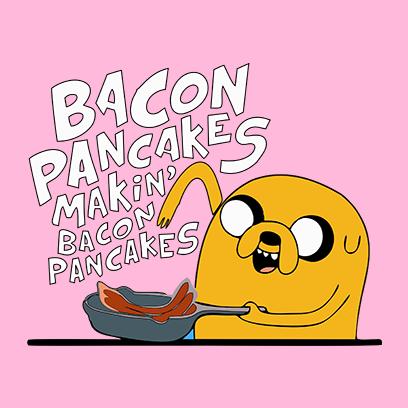 bacon pancakes pink square