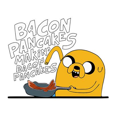 bacon pancakes white square