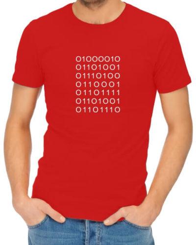 bitchin binary dad red t shirt