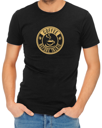 coffee before talkie logo mens tshirt black