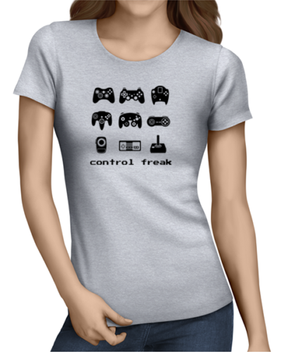 control freak ladies tshirt grey