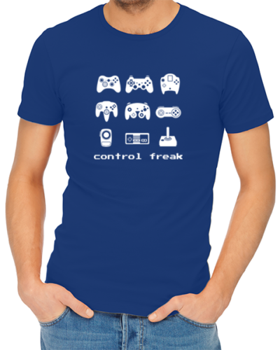 control freak mens tshirt blue