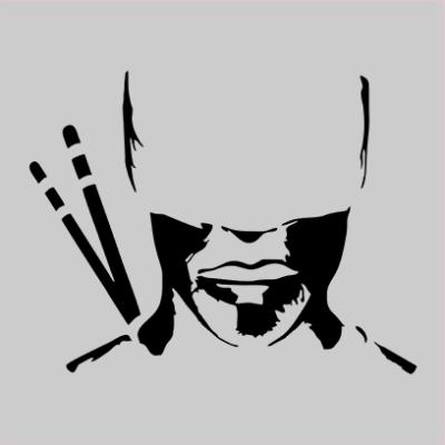 daredevil silhouette grey square