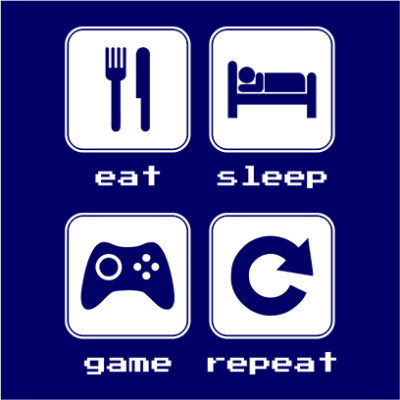 eat sleep game repeat 2 navy square