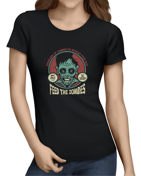 feed the zombies ladies tshirt black