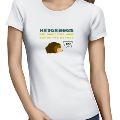 hedgehogs ladies tshirt white