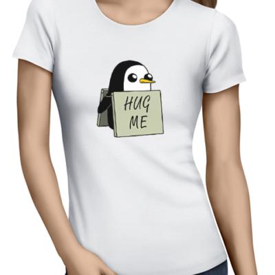 hug me penguin ladies tshirt white