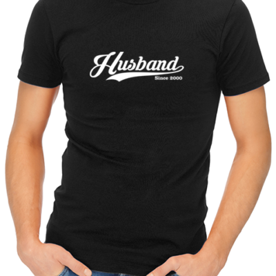 husband since mens tshirt black