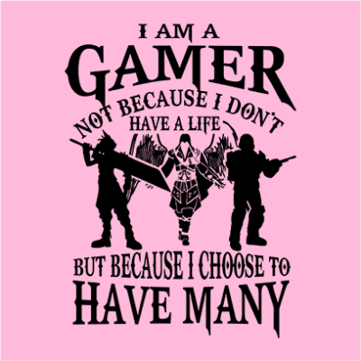 i am a gamer pink square