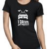 i drive at 88mph ladies tshirt black