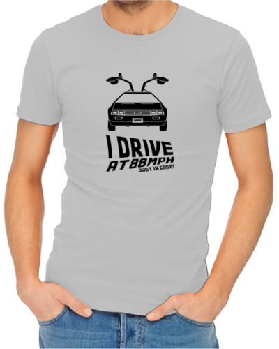 i drive at 88mph mens tshirt grey